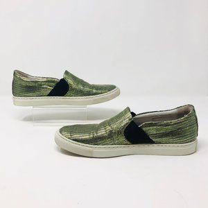 Lanvin Metallic Green Purple Slip-On Sneaker